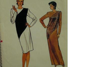 Color Block Dress Pattern, Straight, Diagonal Seams, Long Sleeves, Button Shoulder, Round Neck, Vogue No. 8800 UNCUT Size 16 Bust 38' 97cm