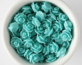 6 Piece Teal 10mm Cabochon Rosette Flowers DIY Earrings Bobby Pins