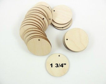 "Wood Earring Circle Pendant 1 3/4"" (4.4cm) Disc Unfinished Wood Jewelry Supplies - 25 Pieces"