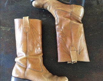 """1970's Tan Leather """"1776"""" Eagle Boots Bicentenial Middle Calf Biker Camper Boots Size 6.5 by Maeberry Vintage"""