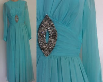 "1970's Chiffon Soft Turquoise Blue Floor Length Evening Gown Size Small 26"" Waist by Maeberry Vintage"