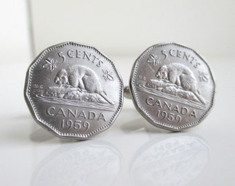 Canadian Beaver Nickel Coin Cuff Links - Vintage Canada Repurposed Coins