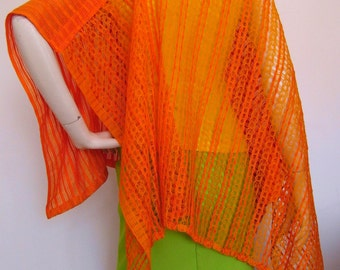 Orange Blaze Poncho - in orange vintage 70s fabric