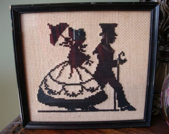 Antique Needlepoint Colonial Silhouette Picture by Helen Elizabeth Waldon 1929