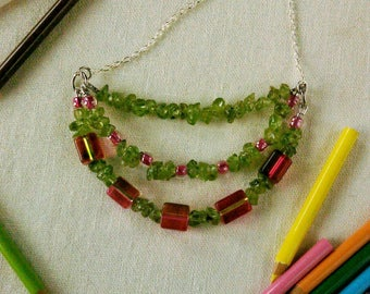 Lady Magenta Peridot and Glass Bead Necklace