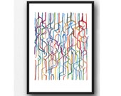 Abstract Watercolor print, abstract watercolor painting connections, Abstract painting