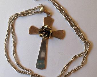 Vintage Large Silver Cross Flower Pendant Necklace 925 HOB Mexico
