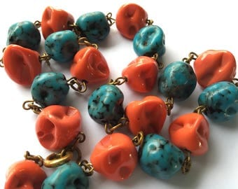 Vintage Art Glass Faux Coral and Turquoise Necklace Pinch Bead