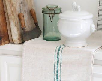 VINTAGE European Grain Sack with GREEN Stripes - XL