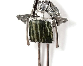 Sterling Silver Jewelry Pendant - Angel Jazmyn Loves Nature - Robin Wade Jewelry - Forest Nature Angel Jewelry - Art Jewelry Pendant - 2099