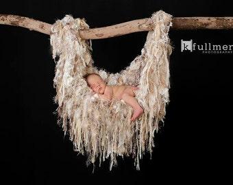 Photo Prop Blanket Baby Photo Prop Baby Blanket Newborn Baby Photo Prop Fringe Hammock Blanket Children Cream Neutral