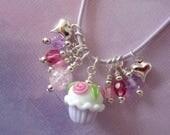 Girl Necklace, Cupcake, Glow in the Dark, Little Girl Jewelry, Little Miss