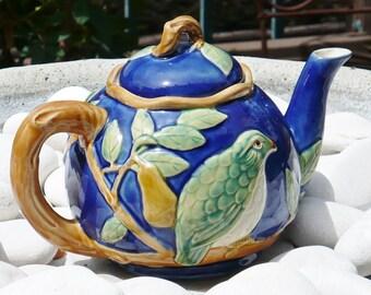 Majolica Teapot, Italian Earthenware, Pottery Ceramics,  Opaque Glaze of Tin Oxide, Green Bird, Blue Background, Brown Accents,
