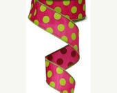 18% OFF 1.5 Inch Hot Pink Lime Large Dot Ribbon RG1586AW, Deco Mesh Supplies