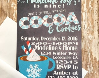 12 cocoa & cookies birthday invitations, winter birthday invites, printed chalkboard party invitations, hot chocolate birthday invitations