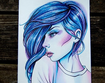 ORIGINAL PAINTING - Watercolor Tattoo Space Galaxy Girl - Interstella III by Carissa Rose - 8x10 inches