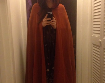Amazing Burnt Orange Heavy Hooded Cape
