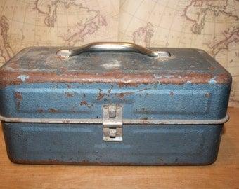 Vintage Metal Tackle Box - Blue Green - item #2239