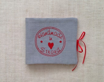 Needlecase with 'Handmade in Stroud' embroidery on vintage linen