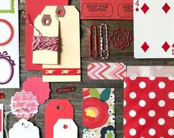 Red Paper Ephemera Tag + Embellishment Collection . Collage Planner Supplies List Kit Scrapbooking Mixed Media Mini Album Midori Field Notes