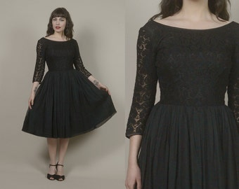 50s Black Lace Cocktail Dress Chiffon Circle Skirt Paisley Lace 1950s Party Dress LBD Little Black Dress Valentine's Mad Men / Size M Medium