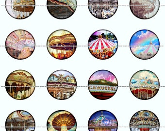 Carousel Magnets Pins Party Favors Refrigerator Magnets Merry Go Round Flat Back Buttons