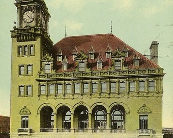 RICHMOND Virginia Main Street Depot Main and 15th Streets Vintage Postcard – Neat Railroad Collectible 1912