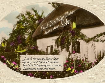 Antique Real Photo Postcard Best Birthday Wish To My Dear Sister English Country Cottage and Floral Garden