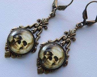 Skull Earrings Gothic Skull Earrings Halloween Earrings Goth Skeleton Skull Jewelry