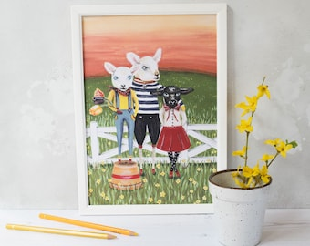 Three spring lambs illustration print. A4 unframed. Spring home decor. Spring art. Anthropomorphic animals. Print for a nursery/living room