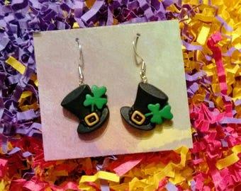 Irish lucky St Paddy's day Irish jewelry shamrock St Patrick's day earring Ireland luck of the irish leprechaun St Patty's Brockus Creations