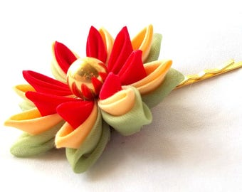 Unique Lotus Hair Flower Tsumami Kanzashi Bobby Pin Red Peach Green