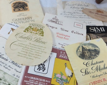 Vintage Wine Labels for Crafting Assemblaage 1970's Wine Labels Paper Crafting Paper