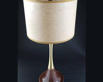 Vintage 1950's Ceramic & Brass Table or Desk Lamp and Shade - Atomic Eames Era Mid Century Modern Starburst Bullet 1960's