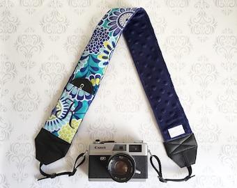 Personalized DSLR Camera Strap, Extra Long, Lens Cap Pockets, Nikon, Canon, DSLR Photography, Photographer - Aqua & Navy Flowers with Navy