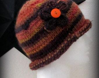 knit hat - knit cap - hand knit hat - beanie - wool knit hat - knit beanie - Merino wool knit hat - Merino wool hat - orange blend knit hat