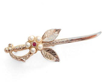 Vintage CORO Faux Pearl and Rhinestone Embossed Gold-Plated Sword Brooch