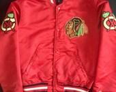 RESERVED for April Chicago Blackhawks Super Classic 1980's  Red Satin Starter Baseball Style Jacket