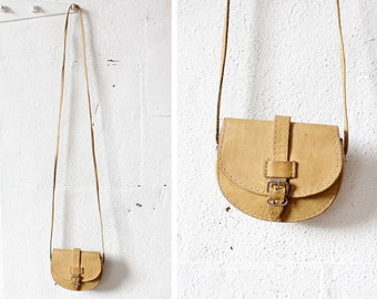 Leather Belt Bag • Small Crossbody Bag • Belt Pouch • Leather Saddle Bag • Tan Leather Bag • Mini Crossbody Bag • Festival Bag | B688