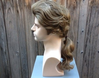 Beauty and the Beast Men's Prince Adam Wig Ponytail Custom Couture Styled