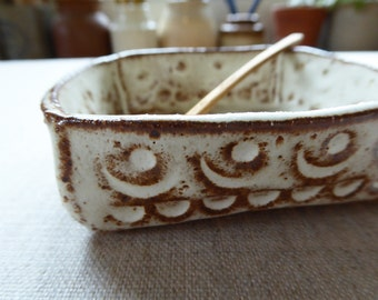 Square Moon Print Salt Bowl with Wooden Spoon SALE