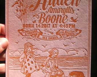 Kids on the Beach Custom Letterpress Birth Announcement