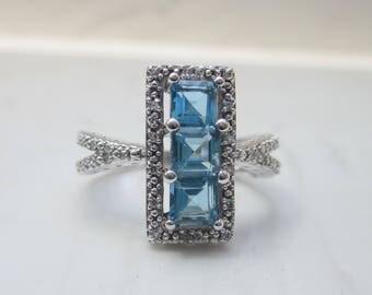 Modern Estate 10k White Gold Diamond and Blue Topaz Ring, Size 7