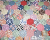 Charming Honeycomb Hexagon Pattern Vintage Quilt Piece — Some Feed Sack Fabrics — 25 by 23 Inches