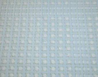 Sweet White Rosebuds on Light Blue Morgan Jones Vintage Chenille Bedspread Fabric Piece - 26 x 17 Inches