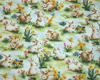 """Cutest Little Bunnies and Spring Flowers New OOP Cotton Fabric - 53"""" by 39"""" Piece"""