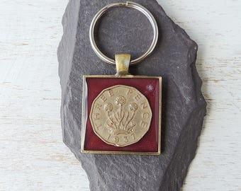 SALE: 1937 Threepence Coin Keyring, 80th Birthday, 1937 Birthday, UK Coin Resin Keyring, 1937 Coin Keychain, UK, 1201b
