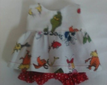 """Dr Seuss The Grinch Baby Alive  And Waldorf Doll Clothes Adorable Dress 10"""" 12"""" 13"""" 14"""" Or 15"""""""