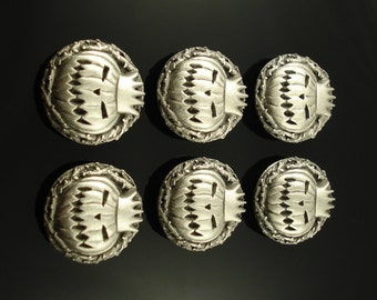PUMKIN KING pewter buttons - lot of 6 - Antiqued Silver or Gold