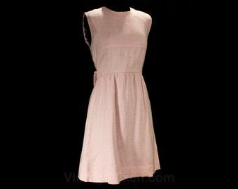 Size 2 Pink Dress - XS 1960s Mini Dress - Sleeveless Sheath 60s Shift - Cute Junior Style Pastel Linen Look Empire Style - Bust 32 - 47434